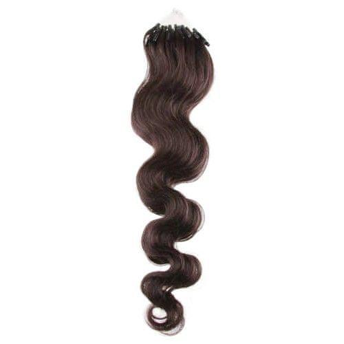 Clip-Vlasy-Levne.cz Vlnité vlasy pro metodu Micro Ring / Easy Loop 60cm – tmavě hnědé 1 pramen 0,7 gramů