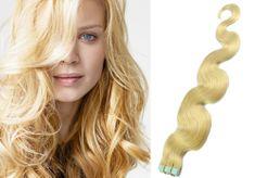 Clip-Vlasy-Levne.cz Vlnité vlasy pro metodu TapeX / Tape Hair / Tape IN 50cm - nejsvětlejší blond