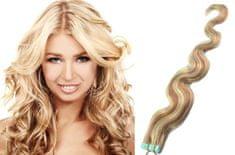 Clip-Vlasy-Levne.cz Vlnité vlasy pro metodu TapeX / Tape Hair / Tape IN 50cm - platina / světle hnědá