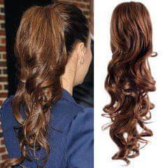 Clip-Vlasy-Levne.cz Clip in příčesek culík / cop 100% japonský kanekalon 60cm kudrnatý - středně hnědý