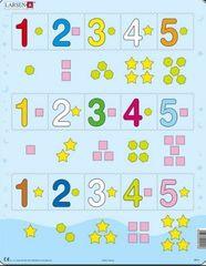 LARSEN Puzzle Čísla 1-5 s grafickými znaky 15 dílků