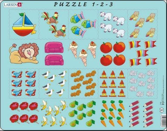 LARSEN Puzzle Počítání pro nejmenší s obrázky 10 dílků