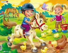 LARSEN Puzzle Jezdíme na koni 16 dílků