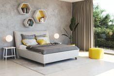 We-Tec Manželská posteľ NAĎA 1, 180x200 cm s úložným priestorom + 2 ks bočne výklopné bukové rošty, béžová