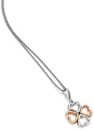 Hot Diamonds Dvobarvna srebrna ogrlica iz štirih listov z diamantom Lucky in Love DP769 srebro 925/1000