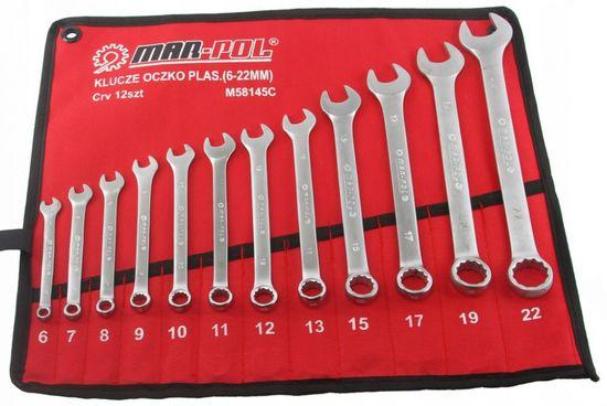 MAR-POL Klíče očkoploché, sada 12ks, 6-22mm ve skládacím obalu MAR-POL M58145C
