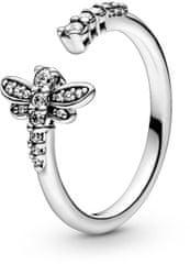 Pandora Otvorený strieborný prsteň s vážka 198806C01 striebro 925/1000