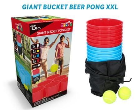 Giant Bucket Beer Pong XXL igra, outdoor/beach, 12 XXL čaše, 2 tenis loptice