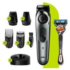 Braun urejevalnik brade BT7240, strižnik las za moške, 39 nastavitev dolžine, črn/siv kovinski