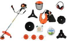 MDTools Motorová kosa - křovinořez 3,0 kW, benzinový, kotouče, nože, maska, struny
