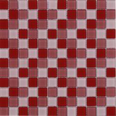 Maxwhite Mozaika ASHS038 sklenená červená ružová svetlá 29,7x29,7cm sklo