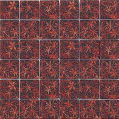 Maxwhite Mozaika ASCH008 sklenená hnedá oranžová s dekorom 29,7x29,7cm sklo