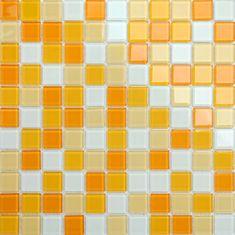 Maxwhite Mozaika CH4006PM sklenená biela žltá oranžová 30x30cm sklo