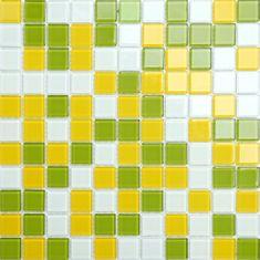 Maxwhite Mozaika CH4005PM sklenená žltá zelená biela 30x30cm sklo