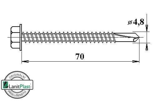 LanitPlast Šroub do železa TEX 4,8 x 70 mm šestihranná hlava (50 ks)