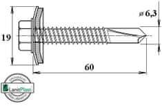 LanitPlast Šroub do železa TEX 6,3 x 60 mm šestihranná hlava (50 ks)