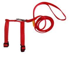 Wau Dog Nylonový postroj pro hlodavce s vodítkem červený