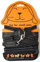 Wau Dog Nylonový postroj pro kočku a hlodavci s vodítkem černý