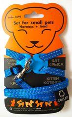 Wau Dog Nylonový postroj pro kočku a hlodavci s vodítkem modrý