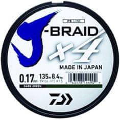 Daiwa Splietaná Šnúra J-Braid 4 Tmavo Zelená 135m