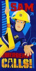 """SETINO Dětská osuška """"Požárník Sam"""" - modrá - 70 x 140 cm"""