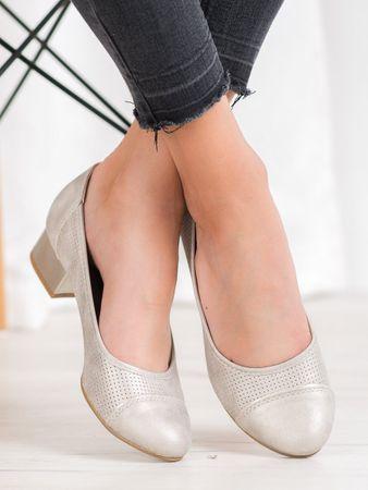 Női körömcipő 64536 + Nőin zokni Sophia 2pack visone, sárga és arany árnyalat, 36