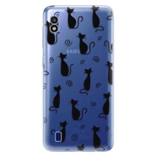 iSaprio Silikónové puzdro - Cat pattern 05 - black pre Samsung Galaxy A10