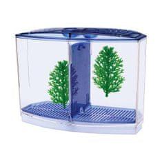 PENN PLAX BETTA akvárium s prepážkou, 2 x rastlina + štrk 20 cm x 10 cm x 15 cm pre bojovnice