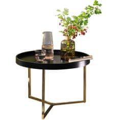 Bruxxi Odkladací stolík Hira, 58,5 cm, čierna/zlatá