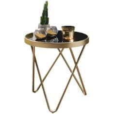 Bruxxi Odkladací stolík Cala, 46 cm, čierna/zlatá