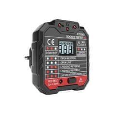 EU tester zásuviek s LED displejom a indikátorom, dvojitá izolácia, certifikát CE