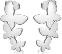 S'Agapõ Ocelové náušnice se třemi motýlky Trio SRI22