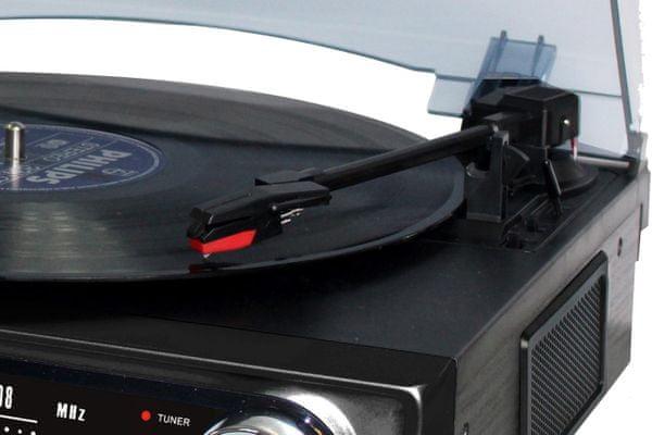 Bluetooth roadstar ttr-9645EBT gramofon 3 rychlosti fm rádio usb aux in line out výstup pro sluchátka vlastní reproduktory analogový tuner výkon 1,2 W rovné raménko lehký retro design plastový protiprachový kryt