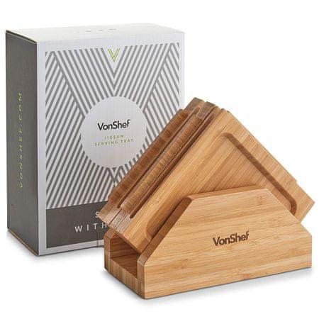 VonShef set 4 desk za serviranje, sestavljanka, bambus