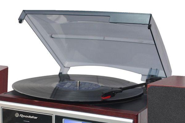 mikrosystém Roadstar hif-8892EBT retro vintage hifi systém Bluetooth cd přehrávač 3rychlostní gramofon MP3 přehrávač dálkové ovládání digitální fm tuner rádio led displej modře podsvícený kopírování zvuku na usb externí reproduktory 2× 4 W autostop kazetový přehrávač aux in ekvalizér