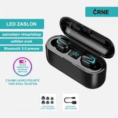 Brezžične slušalke z Bluetooth 5.0, vodoodporne, z mikrofonom, črne