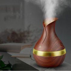 Vlažilec zraka/oljni difuzor, ultrazvočni z LED osvetlitvijo, imitacija temnega lesa - Odprta embalaža