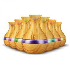 Vlažilec zraka/oljni difuzor, ultrazvočni z LED osvetlitvijo, imitacija svetlega lesa