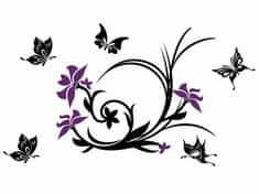 RoomDecor.eu Samolepky na zeď Kytky-33 fialová