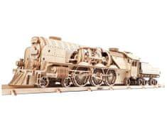 UGEARS V-Express lokomotíva s vagónom 3D mechanické puzzle 538 dielov