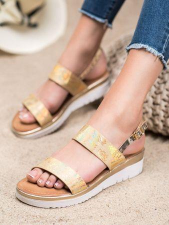 Női szandál 64829 + Nőin zokni Sophia 2pack visone, sárga és arany árnyalat, 39