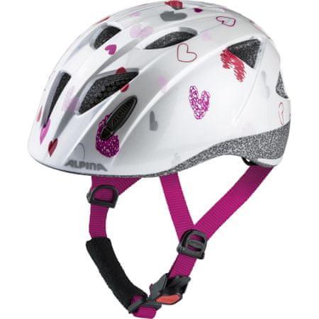 Alpina Sports Ximo otroška kolesarska čelada, belo-roza, 47-51