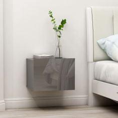 shumee magasfényű szürke forgácslap éjjeliszekrény 40 x 30 x 30 cm