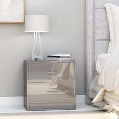 shumee Noční stolky 2 ks šedé s vysokým leskem 40x30x40 cm dřevotříska
