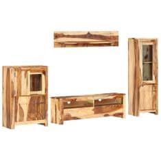 4-częściowa meblościanka pod TV, lite drewno sheesham