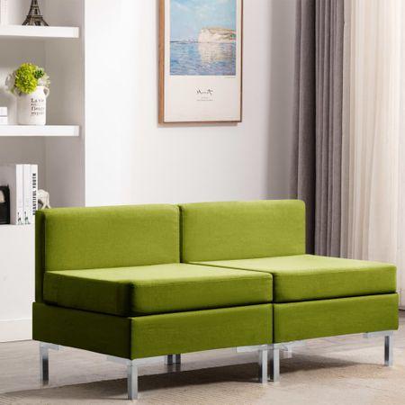 shumee Sekcijski sredinski kavči 2 kosa z blazinami blago zeleni