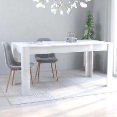 shumee Jídelní stůl bílý s vysokým leskem 160 x 80 x 76 cm dřevotříska