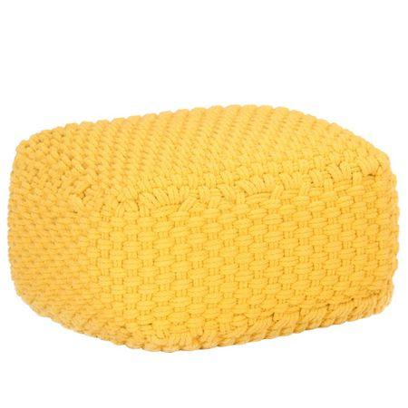 Puf ręcznie dziergany, musztardowy, 50x50x30 cm, bawełna