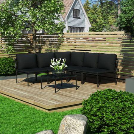 slomart Vrtna sedežna garnitura z blazinami 6-delna črna PVC