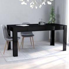 shumee Jídelní stůl černý vysoký lesk 160 x 80 x 76 cm dřevotříska